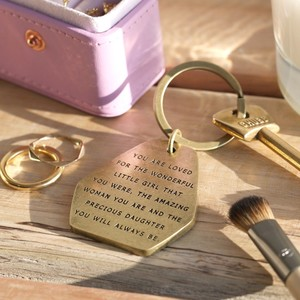 'Precious Daughter' Antiqued Brass Keyring