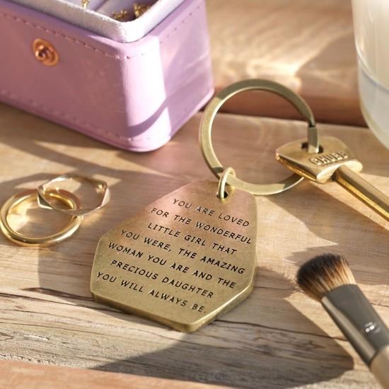 'Precious Daughter' Antiqued Brass Keyring