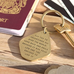 'Say Yes To Adventure' Antiqued Brass Keyring