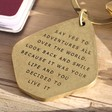 Close Up of Lisa Angel 'Say Yes To Adventure' Antiqued Brass Keyring