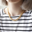 Statement Track Cable Chain Necklace in Gold on Model