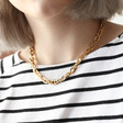 Statement Triple Cable Link Chain Necklace in Gold on Model