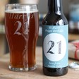 Lisa Angel Printed Personalsed Birthday Bottle of Malt Coast Amber Ale with Pint Glass