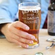 Men's Personalised 'Bestest Step Dad' Engraved Pint Glass