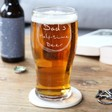 Men's Personalised Engraved 'Half-time' Pint Glass