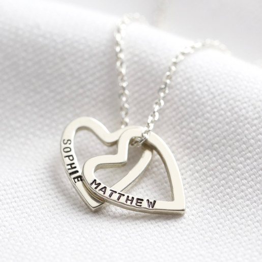 Personalized Family Name Necklace Heart Pendant Anniversary Gift for Mothers Day