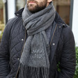 Men's Personalised Embroidered Coordinates Lambswool Scarf on Model