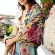 Model Wears Ladies' Powder Cottage Garden Print Scarf