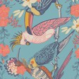 Ladies' Powder Tropical Birds Print Scarf