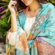 Model Wears Ladies' Powder Tropical Birds Print Scarf