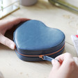 Lisa Angel Faux Leather Navy Personalised Heart Travel Jewellery Case
