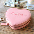 Lisa Angel Faux Leather Pink Personalised Name Heart Travel Jewellery Case
