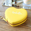 Lisa Angel Faux Leather Yellow Personalised Name Heart Travel Jewellery Case