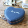 Lisa Angel Faux Leather Navy Personalised Name Heart Travel Jewellery Case