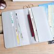 Inside of Teens Gold Star Slim Travel Wallet in Grey