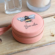 Teen's Personalised Peach Pink Bee Mini Round Travel Jewellery Case