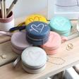 Lisa Angel Personalised Heart & Initials Mini Round Travel Jewellery Case