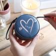 Lisa Angel Navy Blue Personalised Heart & Initials Mini Round Travel Jewellery Case