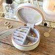 Lisa Angel Personalised Name Mini Round Travel Jewellery Case in Grey