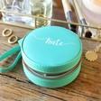 Lisa Angel Turquoise Personalised Name Mini Round Travel Jewellery Case