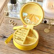 Lisa Angel Personalised Name Mini Round Travel Jewellery Case in Mustard
