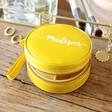 Lisa Angel Mustard Personalised Name Mini Round Travel Jewellery Case