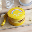 Teen's Personalised Yellow Rainbow Mini Round Travel Jewellery Case