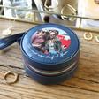Lisa Angel Navy Personalised 'Your Photo' Mini Round Travel Jewellery Case