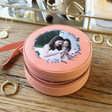 Lisa Angel Pink Personalised 'Your Photo' Mini Round Travel Jewellery Case
