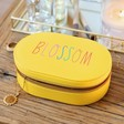 Lisa Angel Ladies' Personalised Rainbow Name Oval Travel Jewellery Box in Yellow