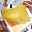 Lisa Angel Yellow Iridescent Tassel Make up Bag with Quote