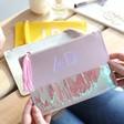 Lisa Angel Ladies' Personalised Block Initials Iridescent Tassel Make up Bag