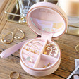Inside of Personalised Pink Rainbow Name Mini Round Travel Jewellery Case