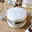 Women's Personalised Grey Rainbow Name Mini Round Travel Jewellery Case