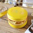 Teen's Personalised Yellow Rainbow Name Mini Round Travel Jewellery Case