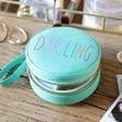 Ladies' Personalised Turquoise Rainbow Name Mini Round Travel Jewellery Case