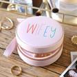 Wife's Personalised Pink Rainbow Name Mini Round Travel Jewellery Case