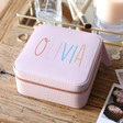 Teen's Personalised Lavender Rainbow Name Square Travel Jewellery Box