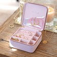 Inside of Personalised Meaningful Wording Square Travel Jewellery Box in Lavender