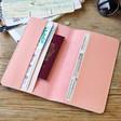 Inside of Lisa Angel Pink Personalised Initials Slim Travel Wallet