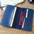 Inside of Lisa Angel Navy Blue Personalised Initials Slim Travel Wallet