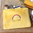 Lisa Angel Ladies' Embroidered Rainbow 'Stay Wonderful' Velvet Make Up Bag