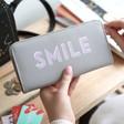 Lisa Angel Ladies' Large Zip Around 'Smile' Wallet in Grey