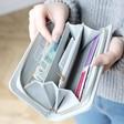 Inside of Teens Large Zip Around 'Smile' Wallet in Grey