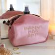 Lisa Angel Ladies' Pink Personalised Embroidered Message Velvet Box Make Up Bag