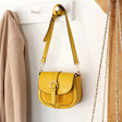 Lisa Angel Mustard Yellow Personalised Vegan Leather Crossbody Handbag
