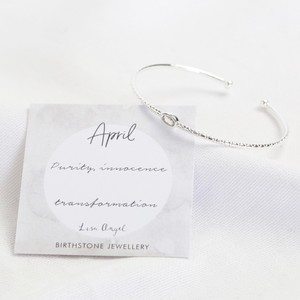 Organic Style Birthstone Bangle - April