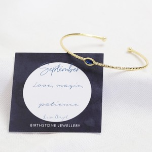 Organic Style Birthstone Bangle - September