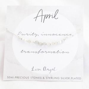 Birthstone Bead Bracelet in Silver - April