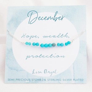 Birthstone Bead Bracelet in Silver - December